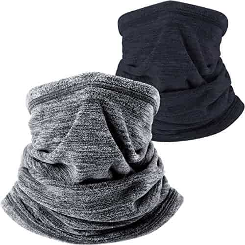 JIUSY 2 Pack or 1 Pack - Soft Fleece Neck Gaiter Warmer Face Mask for Cold Weather Winter Outdoor Sports