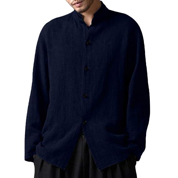 Yvelands Camisas abotonadas Sueltas Flojas del Color sólido del algodón y del Lino de la Tapa Hombre: Amazon.es: Ropa y accesorios