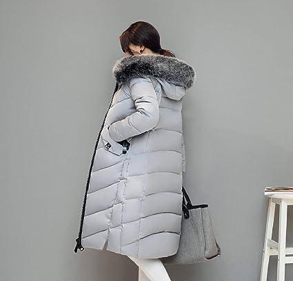 Manadlian Damen Winterjacke mit Kapuze Frau Oberbekleidung Taste Mantel Lange Baumwolle gepolstert Jacken Tasche Pelz Kapuzenmäntel