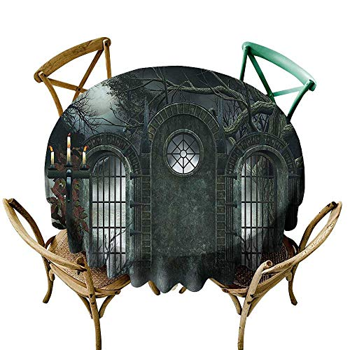 Waterproof Table Cover Horror House Decor Moon Halloween Ancient Historical Gate Gothic Background Candles Fiction View for Events Party Restaurant Dining Table Cover 67 INCH Hunter -
