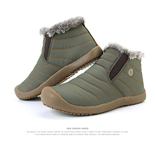 Fully Lightweight Warm Fur Snow Ankle ZHShiny Sneaker with Women Hiking Men Anti Lining Shoes Outdoor Slip Green Winter Boots XYYRZwq