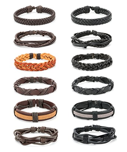 REVOLIA 12Pcs Braided Leather Bracelets for Men Women Cuff Wrap Wristbands