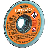 "MG Chemicals Desoldering Braid #2 Fine Braid Super Wick for Lead Free Solder, 0.05"" Width x 5' Length"