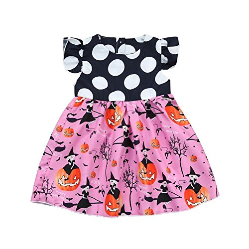 Aoile Halloween Pattern Girl Princess Dress Party Wedding Outfits Performance Dress Gift (Pink,110cm)