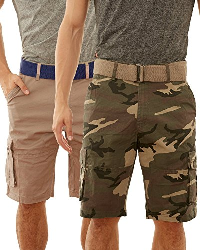 Beverly Hills Polo Club Men\'s Belted Stretch Cargo Short (2 Pack), Army Camo/Khaki, Size 34' - Camo Military Shorts