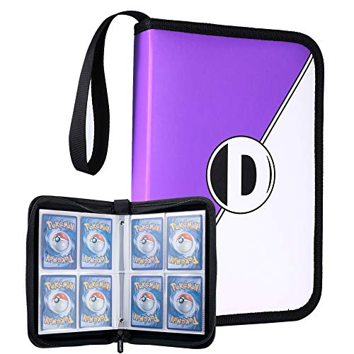 D DACCKIT Carrying Case Compatible with Pokemon Trading Cards, Cards Collectors Album with 20 Premium 4-Pocket Pages, Holds Up to 320 Cards - Purple and White