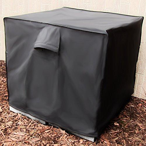 Sunnydaze Heavy-Duty Square Air Conditioner Cover, Black, 34