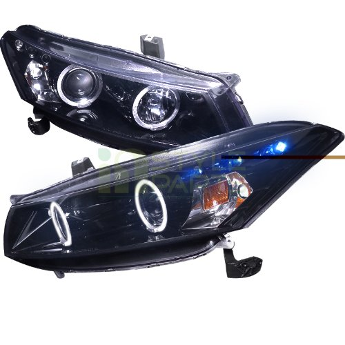 (Spec-D Tuning 2LHP-ACD082G-TM Honda Accord Dual Halo Led Glossy Black 2Dr Coupe Projector Headlights)