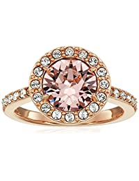 Rose Gold Plated Sterling Silver Swarovski Crystal Morganite Round Halo Ring