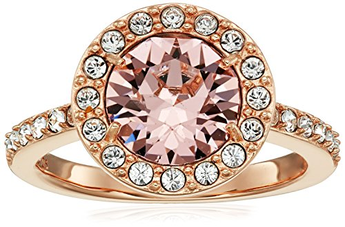 Rose Gold Plated Sterling Silver Swarovski Elements Crystal Morganite Round Halo Ring Size 6 (Swarovski Elements Ring compare prices)