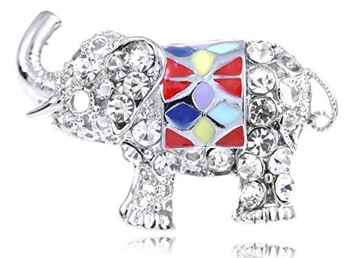 India Sumatran Borneo Elephant Enamel Colorful Crystal Rhinestone Painted Ring