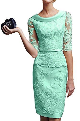 Abendkleider Brautmutterkleider Royal Gruen La mit Etuikleider Spitze Promkleider Knielang Marie Langarm Braut Damen Minze Blau qHHzw814x