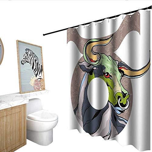 Taurus Hotel Style Shower Curtain Artistic Bull Figure Astrology Animal Spiritual Icon Zodiac Life Artsy Illustration Shower Curtain bar Multicolor W48 x L72
