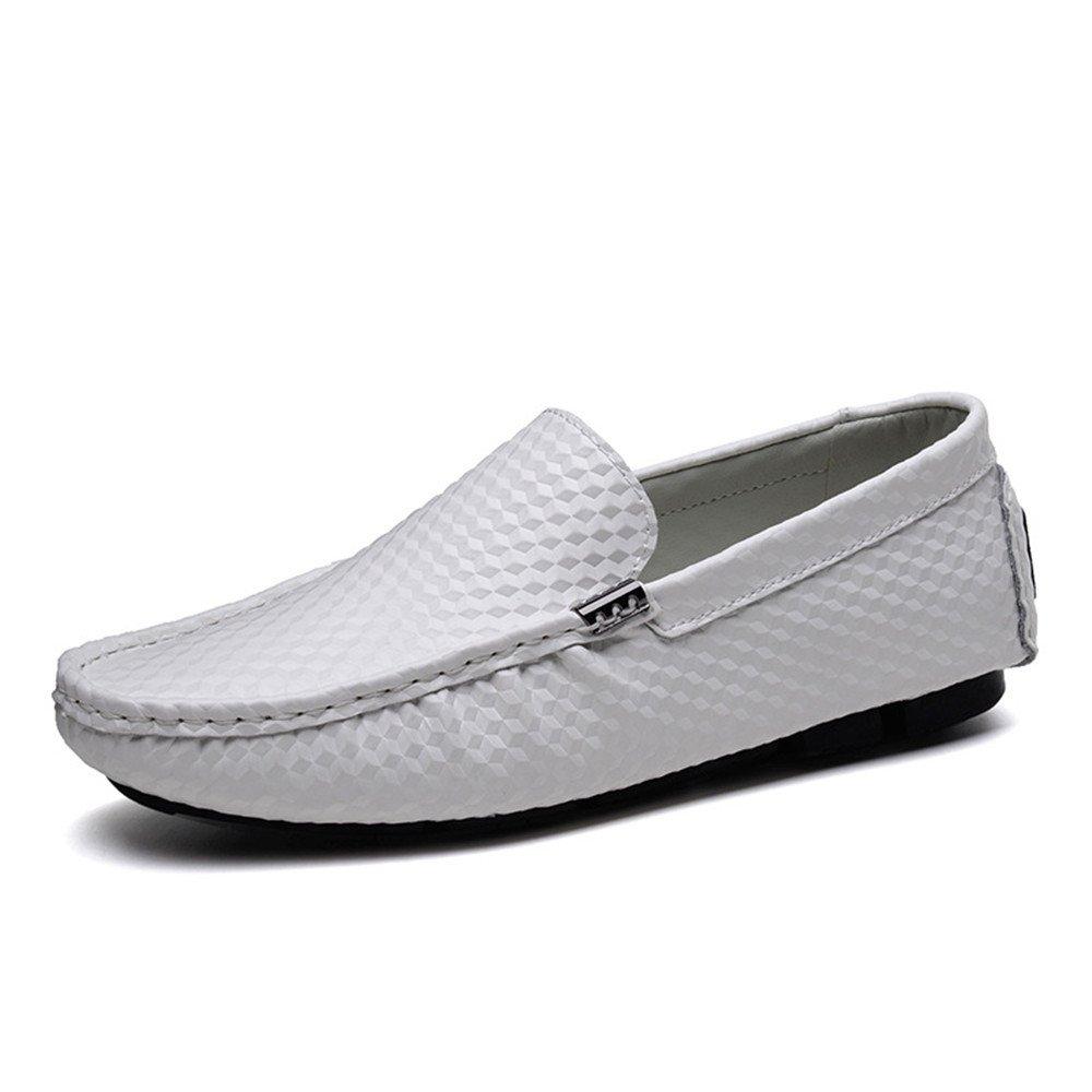 TYAW-Los Hombres de Conducción de Zapatos Zapatos de Cuero de Color Sólido de Cabeza Redonda Boca Superficial 40 EU|White White