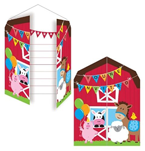 Farmhouse Fun Invitations (8) - Farm Animal Themed Party Supplies