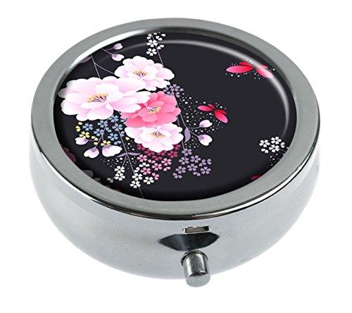 MaXing Traditional floral kimono Custom Personalized Silver Round Pill box Decorative Metal Medicine Container ()
