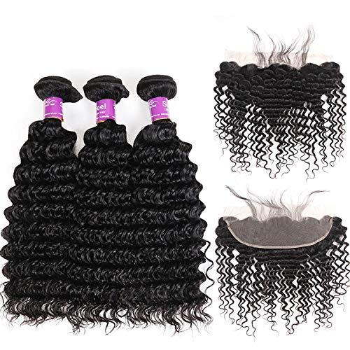 (SHILINWEI Brazilian Deep Wave Bundles With Frontal Remy Human Hair Bundles With Frontal Lace Frontal Closure With Bundles,16 18+14Closure,Natural Color,Free Part)