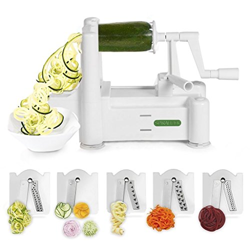 Spiralizer 5-Blade Vegetable Slicer, Strongest-and-Heaviest Duty, Best Veggie Pasta & Spaghetti Maker for Low Carb/Paleo/Gluten-Free Meals, With 4 Exclusive Recipe eBooks by Spiralizer