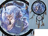 13In Indian Maiden Wolf and Pup in front of Moon Double Dream Catcher Reproduction