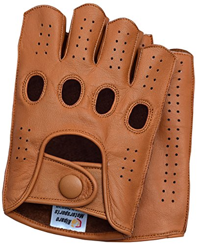 - Riparo Mens Leather Reverse Stitched Fingerless Half-Finger Driving Motorcycle Gloves (Large, Cognac)