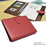 Leather Diary, izBuy Classic Writing Notebook ,Retro Vintage Journal with Business Card Page/Sheet Protector/Pen Holder,164 Lined Beige Pages,Refillable,8.11x5.5Inches,Magnetic Buckle,Red(305-25)
