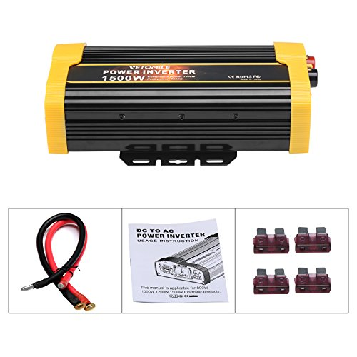 Vetomile 1500W Power Inverter DC 12V to AC 110V Car Inverter with 2.1A Dual USB Car Adapter by Vetomile (Image #8)