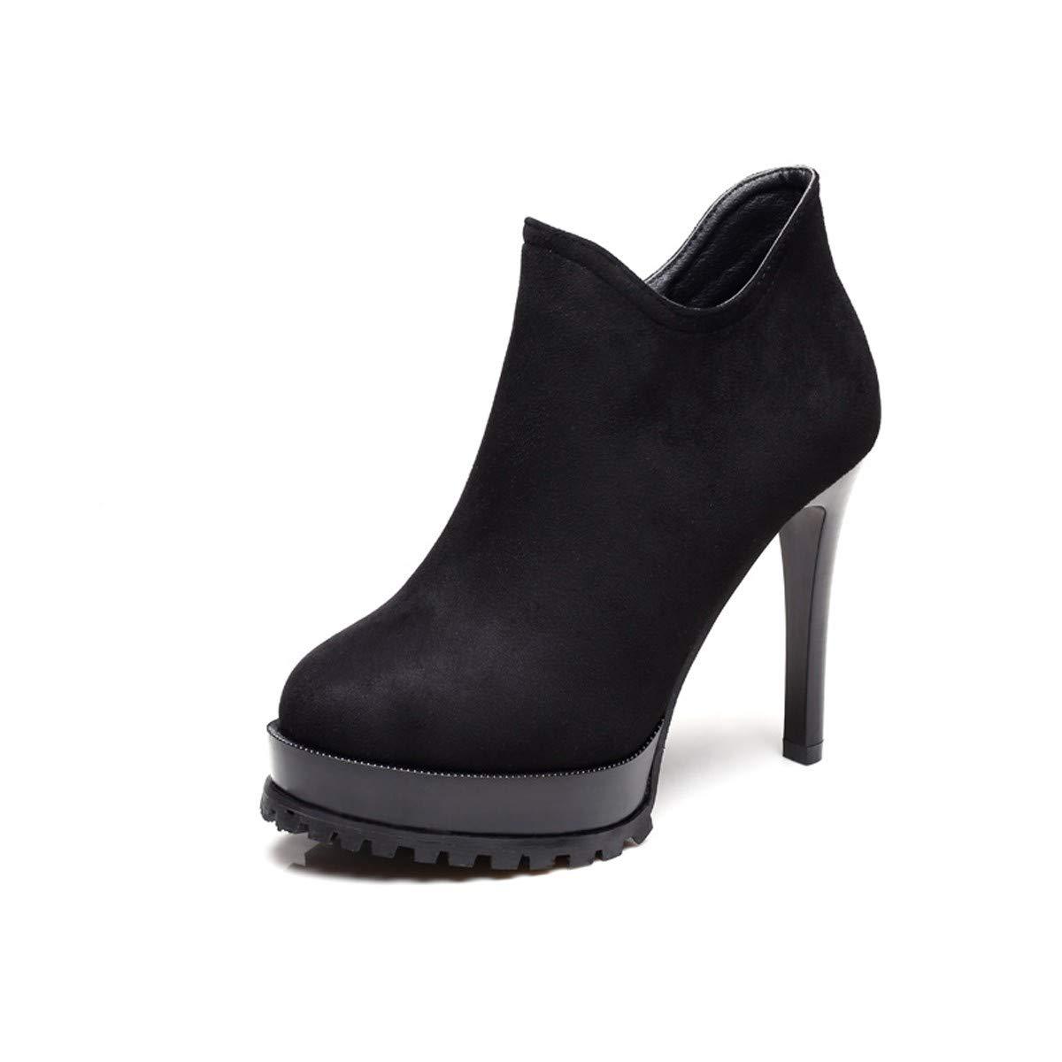 LBTSQ-Kurze Stiefel High Heels 11Cm Runden Kopf Damenschuhe Dünn Und Wasserdichte Plattformen Tiefe Schuhe Mode.