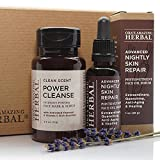 Cheap Natural Face Skincare Set, Power Cleanse Mask, Scrub and Exfoliant with Activated Charcoal, Phytonutrient Face Serum Oil, Vitamin C Antioxidant Moisturizer (Clean Scent, Nightly Repair)