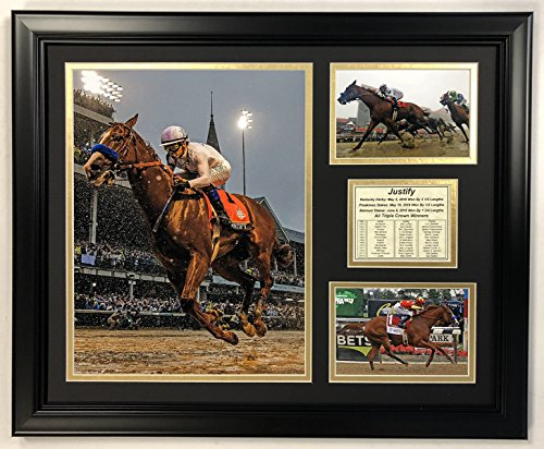 Legends Never Die Justify   2018 Triple Crown Winner   Framed 18 X22  Double Matted Photos  Inc