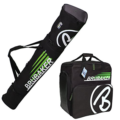 HENRY BRUBAKER ''Champion'' Combo Ski Boot Bag and Ski Bag for 1 Pair of Ski up to 190 cm, Poles, Boots and Helmet - Black Green by BRUBAKER