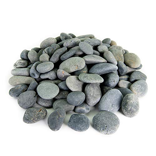 Mexican Beach Pebbles | 20 Pounds of Smooth Unpolished Stones | Hand-Picked, Premium Pebbles for Garden and Landscape Design | Black, 2 Inch - 3 Inch ()