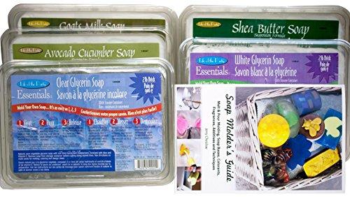 10 lb. Sampler Pack of Goat's Milk, Clear, White, Avocado Cucumber, Shea Butter Melt and Pour Vegetable Glycerin Soap Bases