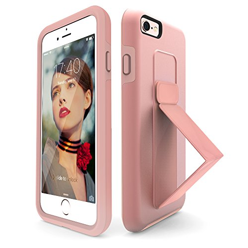 iPhone 6S Plus Case, iPhone 6 Plus Case, ZVEdeng Hand Strap Vertical and Horizontal Stand Magnetic Kickstand Dual Layer Durable Slim Fit Case for Apple iPhone 6 Plus / 6s Plus 5.5 Rose Gold