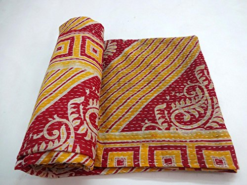 Vintage Kantha Quilt Handmade Indian Cotton Bedspread Blanket Bedding Ralli
