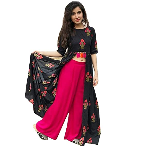 72197a4d37da2 Sunrise Paridhan Women s Rayon Crop top Kurti   Palazzo Pant for women    girls. (