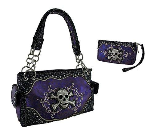 Purple Foil Fabric Rhinestone Skull Concealed Carry Purse/Wallet Set