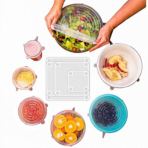 AF DEALS 11 KITCHEN SILICONE STRETCH LIDS contains 7 Round Shaped Silicone Lids with varying sizes and EXCLUSIVE XL SIZE, PLUS 4 Square Food Wraps. All lids are dishwasher and freezer safe.