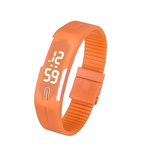 Sannysis Goma Reloj LED Fecha Deportes pulsera, Digital reloj de pulsera, color (Naranja