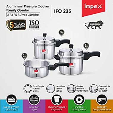 Impex IFC 235 Induction Base Aluminium Pressure Cooker Family Combo Set with Outer Lid (Silver, 2, 3 and 5 L) 9