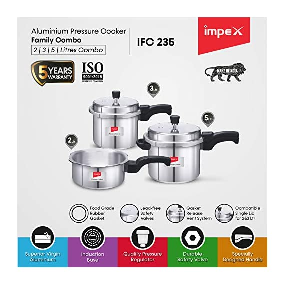 Impex IFC 235 Induction Base Aluminium Pressure Cooker Family Combo Set with Outer Lid (Silver, 2, 3 and 5 L) 2