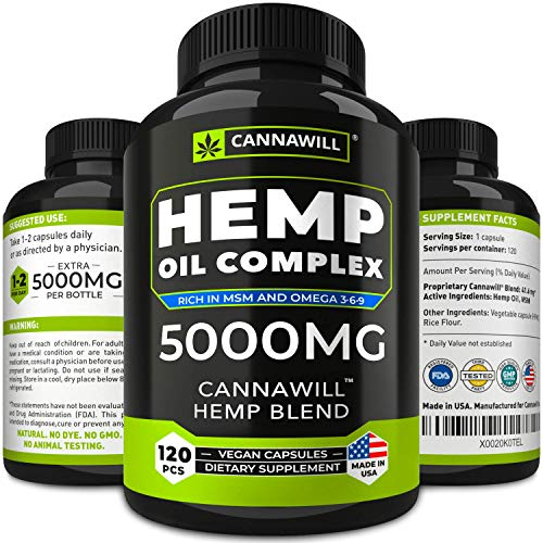 Hemp Oil Capsules 5000MG - Best for Pain, Anxiety & Stress Relief - Hemp Seed Oil Capsules Made in USA - 100% Natural Anti Inflammatory, Mood & Immune Support - Good for Skin, Hair & Nails - Omega 3 (Circulation Booster Best Price)