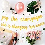 Bachelorette Party Decorations Kit | Bridal Shower Supplies | Bride to Be Sash, Veil, Champagne, Ring Foil Balloon, Rose Gold Balloons, Gold Glitter Banner | Pop The Champagne She Is Changing Her Name