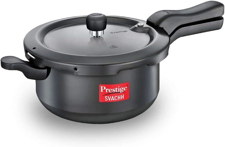TTK Prestige Svachh Hard-Anodized Senior Pressure Pan - 5 Litre, black