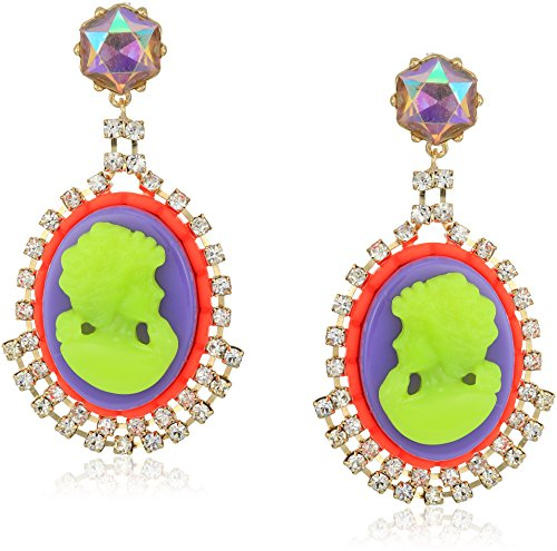 Betsey Johnson Womens Granny Chic Colorful Cameo Drop Earrings, Multi, One Size