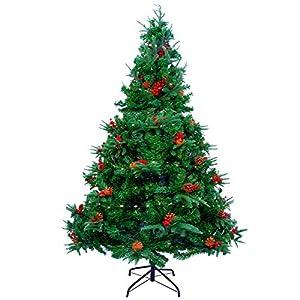 AGM 6ft/1.8M Albero di Natale con luci a Corda da 1.5m 300 LED, Albero di Natale Artificiale con Aghi di Pino Misti, Bacche Rosse e Cerniere e Base, per Decorazioni Natalizie per Interni ed Esterni 4 spesavip