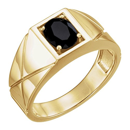 14k Yellow Gold Onyx Solitaire Men Gents Gemstone Ring