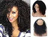 [LIMITED TIME SALE]Pre Plucked 360 Brazilian Virgin Human Hair Lace Frontal Closure for Women, Veer 130% Density Curly Hair With Baby Hair for Black Women Natural Black(#1B) 16inch