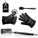 PerfectoChef BBQ Set - Clean any type of grill surface with the stainless steel grill brush - Protect your hands from heat with the Barbecue Gloves and apply barbecue sauce with the basting brush