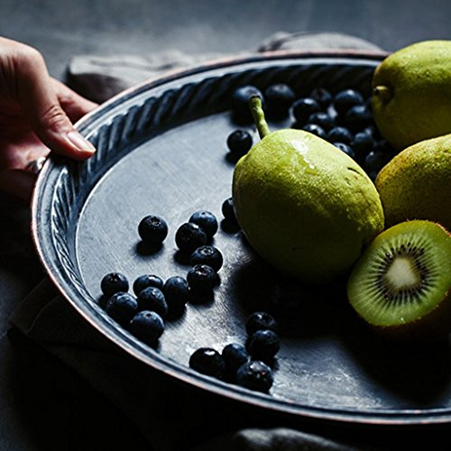 He Xiang Ya Shop Iron Flat Plate Home Breakfast Large Tray Fruit Cake Tray Water Cup Tray Black Dinner Plate 12 inches by He Xiang Ya Shop (Image #4)