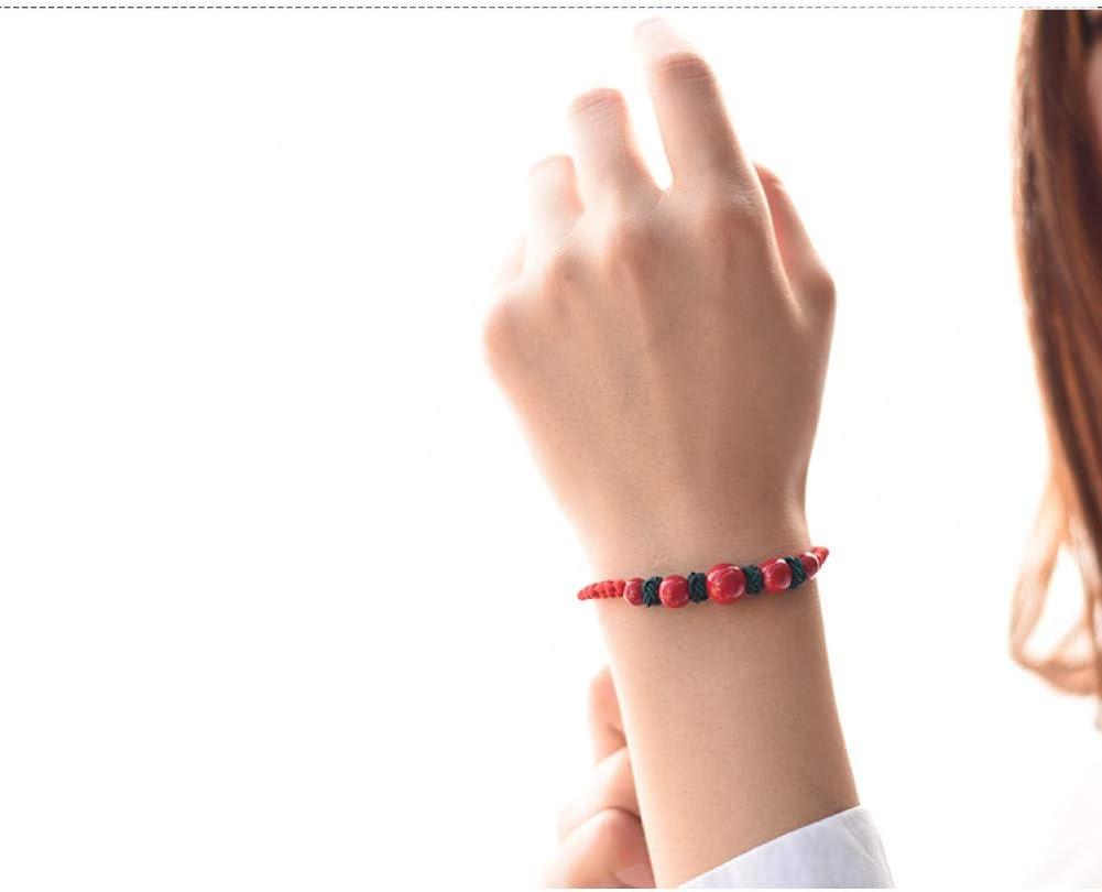 WGYRANCIUS Pulsera Pulsera de Cadena para Mujer Rojo Piedra Natural Hilo Encerado Ajustable joyería Amante Pulsera Pulsera Pulsera Brillante para Mujer